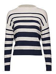 Striped cotton sweater - NAVY