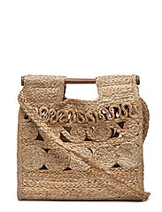 Jute handbag - MEDIUM BROWN