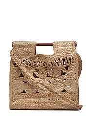 Jute handbag - MEDIUM BROWN