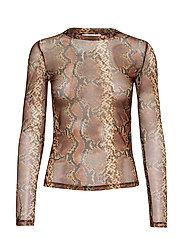 Printed tulle t-shirt - BROWN