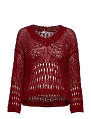Openwork knit sweater - DARK RED