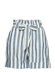 Bow linen short - MEDIUM BLUE