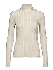 Fine-knit t-shirt - LIGHT BEIGE