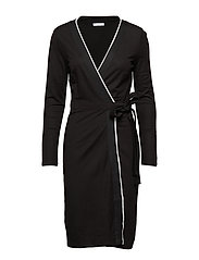 Bow wrap dress - BLACK