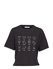Printed cotton-blend t-shirt - BLACK