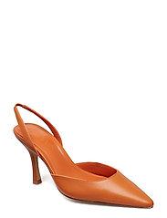 Heel leather shoes - DARK BROWN