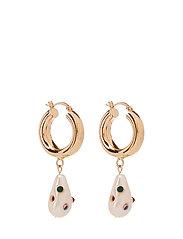 Pearl hoops earrings - GOLD
