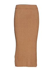 Cable knit skirt - DARK BROWN