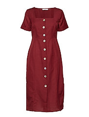 Buttoned linen-blend dress - DARK RED
