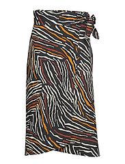 Zebra linen-blend skirt - BLACK