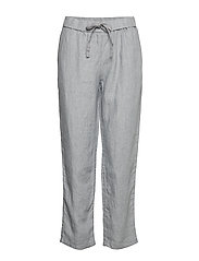Straight linen-blend trousers - GREY