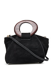Wooden Handle Leather Bag