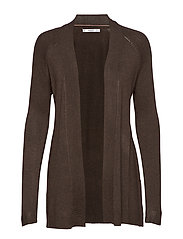 Openwork long cardigan - DARK BROWN