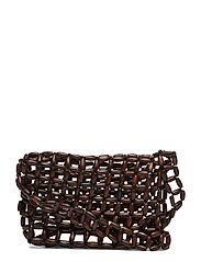 Beaded wood bag - BROWN