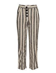 Striped linen-blend trousers - GREY