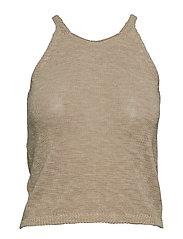 Cotton linen-blend top - LT PASTEL BROWN