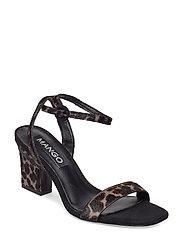 Leopard leather sandals - BLACK