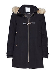 Furry hooded parka - BLACK