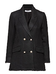 Buttons tweed blazer - BLACK