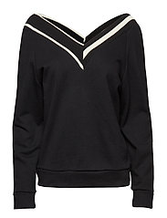 Boat neck sweatshirt - BLACK