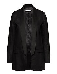 Structured linen jacket - BLACK