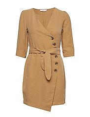 Buttoned wrap dress - MEDIUM BROWN
