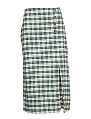 Gingham print skirt - GREEN