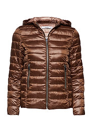 Mixed quilted jacket - DARK BROWN
