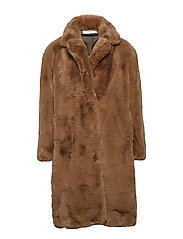 Oversize faux-fur coat - MEDIUM BROWN