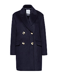 Buttoned wool coat - NAVY