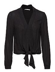 V-neckline blouse - BLACK