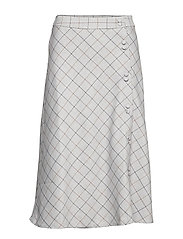 Buttoned checked skirt - GREY