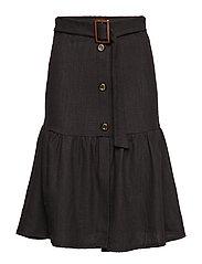 Buckle cotton skirt - BLACK