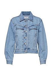 Vintage wash denim jacket - OPEN BLUE