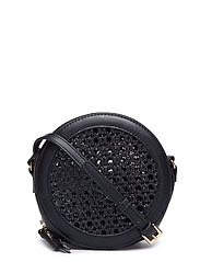 Laser-cut round bag - BLACK