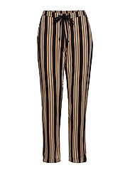 Drawstring flowy trousers - MEDIUM BROWN