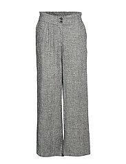 Straight linen-blend trousers - BLACK