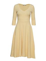 Ribbed midi dress - YELLOW