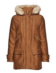 Furry hooded parka - MEDIUM BROWN