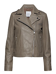 Leather biker jacket - GREY