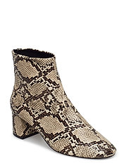 Snake-effect ankle boots - LIGHT BEIGE