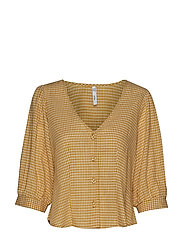 Gingham check blouse - ORANGE