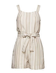 Linen-blend striped jumpsuit - NATURAL WHITE