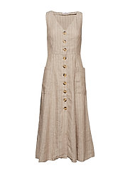 Linen-blend midi dress - LIGHT BEIGE