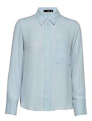 Pocket flowy shirt - LT-PASTEL BLUE
