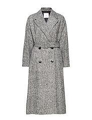 Textured long coat - GREY