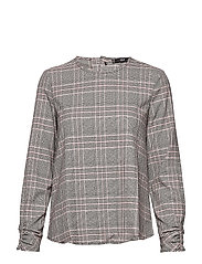 Textured check blouse - BLACK