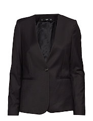 Structured textured blazer - BLACK