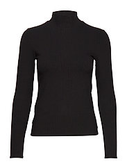 Ribbed high neck t-shirt - BLACK