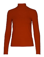 Ribbed high neck t-shirt - RUST - COPPER